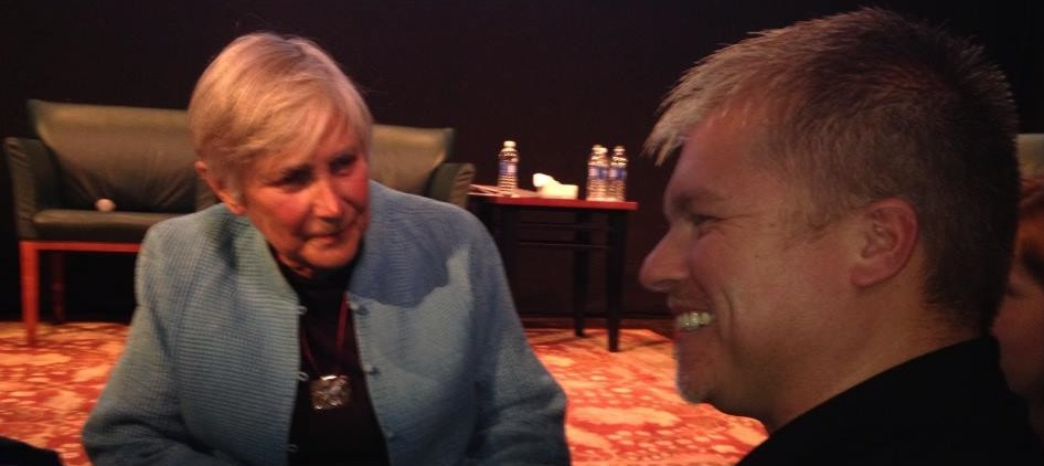 Justin Oakley meets with eventual radio guest Diane Ravitch. Photo by Marisa Graham, courtesy of Justin Oakley. --------------------------------