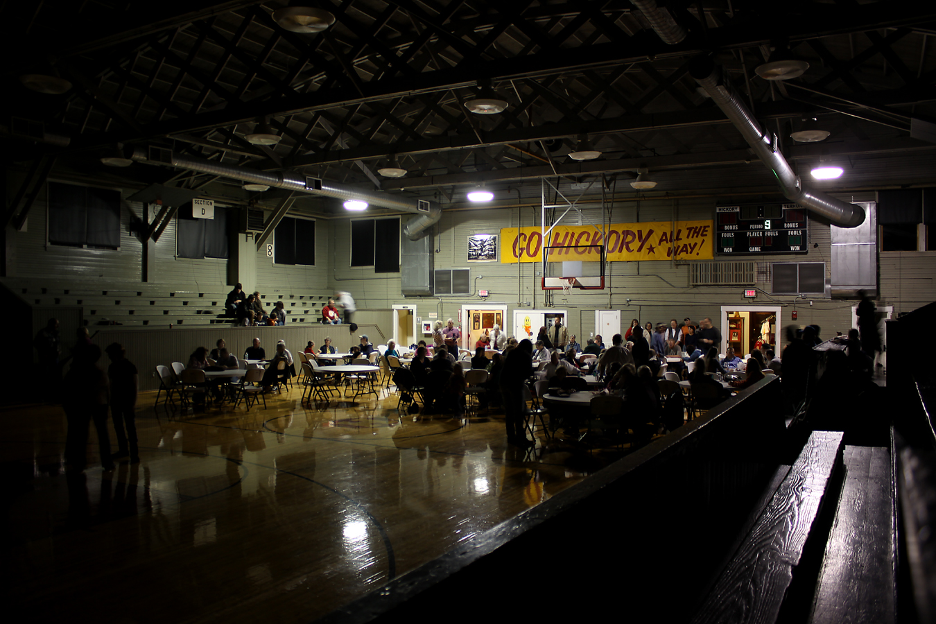 Basketball isn't the only use for Knightstown's historic Hoosier Gym Community Center. Weddings, birthday parties, class reunions, political forums, alumni banquets and sock hops (like the one in this photo) are regular events. Youth basketball leagues practice and play there regularly, as do adult pick-up ball leagues.