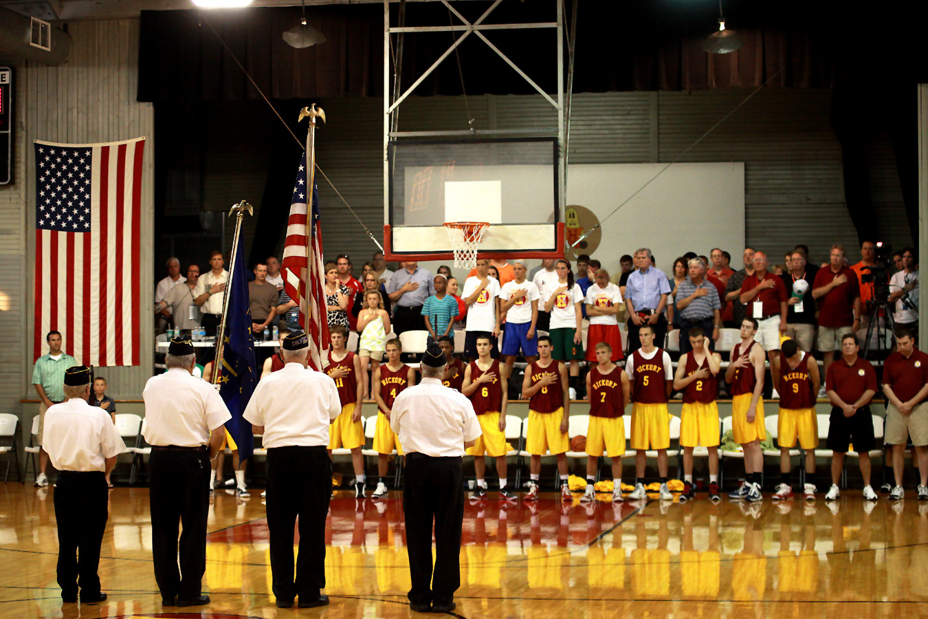 The Knightstown American Legion Post 152 Honor Guard presents the colors prior to tip-off at the 2011 Hoosiers Reunion All-Star Classic Doubleheader. Located on Main Street (U.S. 40) in Knightstown, American Legion Post 152 is one of few area posts to offer honor guard services at ball games and veteran funerals.