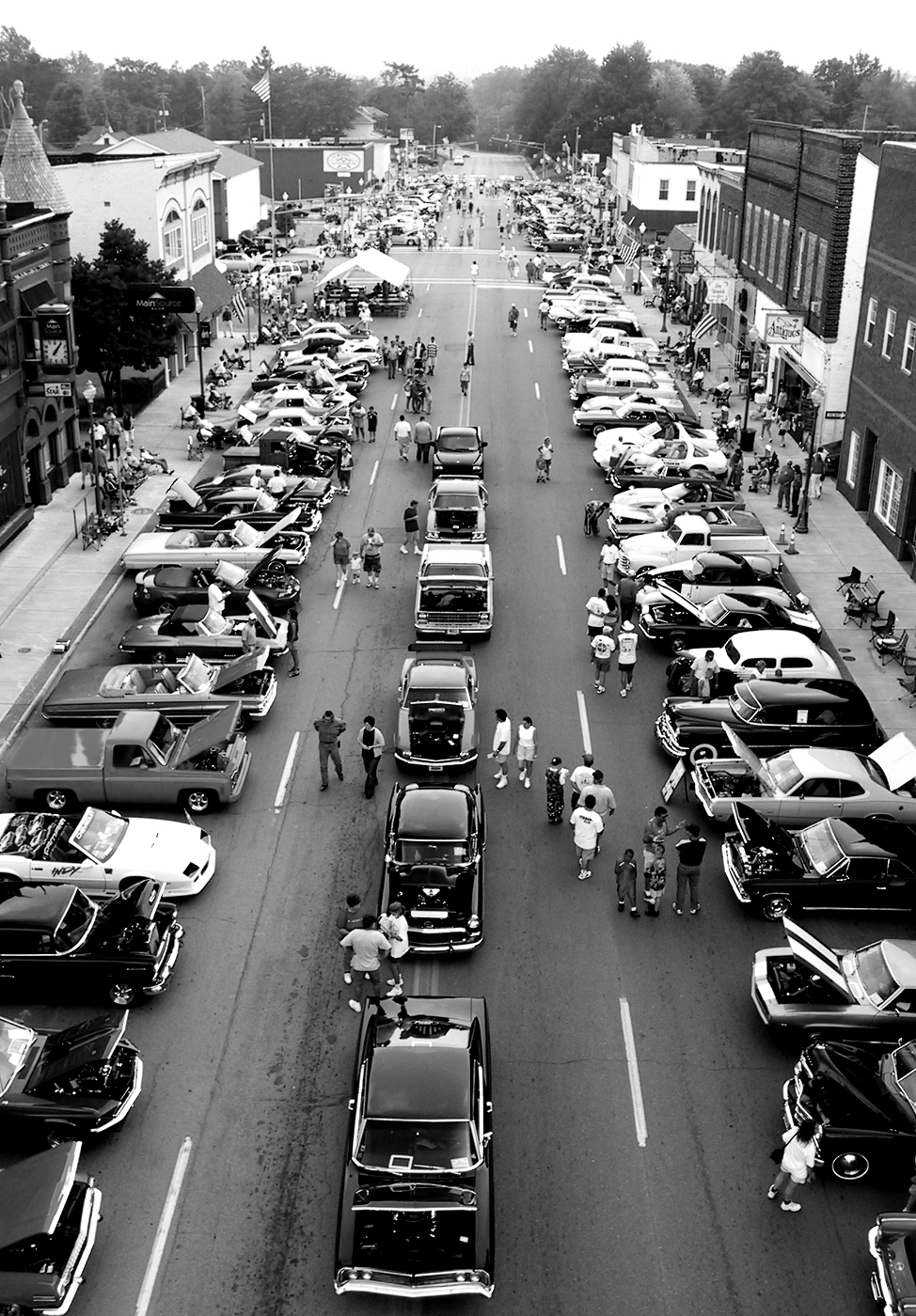 Classic cars line Knightstown's Main Street during the Cars of Summer Car Show, which drew hundreds of cars and thousands of people.