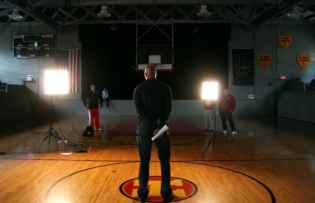 Former Indiana Pacer Clark Kellogg records a television commercial for an Indiana school at the Hoosier Gym in 2005. Kellogg is just one famous face to visit the Hoosier Gym. Over the years, a variety of VIPs have been to the gym. Among those are Larry Bird, LeBron James, Carmello Anthony and Magic Johnson. During the Bobby Knight era at IU, Knight's son, Tim, brought basketball camps to town that featured IU standouts like Jared Jeffries, Michael Lewis, Tom Coverdale and more.