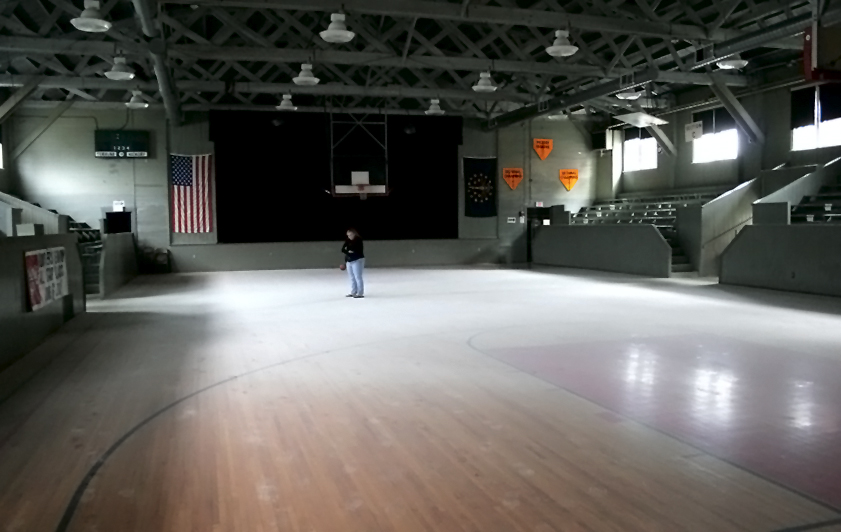 About 99 percent of the Hoosier Gym's episodes are happy ones. But, that hasn't always been the case. As a community center, the gym is often open for several hours each day, often with only one or two volunteers manning the large facility. In 2008, some local youths apparently got bored and triggered a fire extinguisher indoors. In this photo, one of the kid's frustrated and embarrassed mothers looks at the resulting mess. The gym's insurance policy covered the clean-up. Knightstown volunteers chipped in, helping a team of cleaning professionals paid for by the insurance company. No real harm was done, although it took days to clean up.