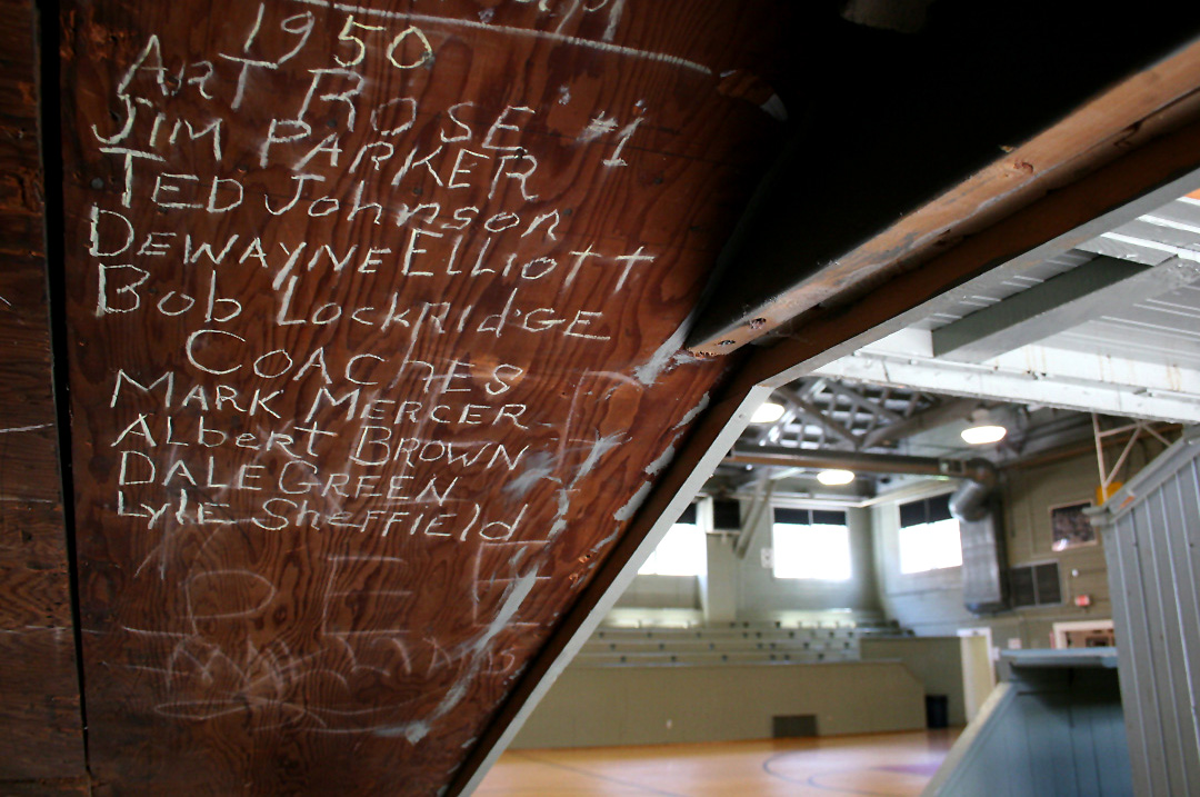 Now a central tourist attraction for Knightstown and Henry County, the Hoosier Gym, however, was once a modest high school gymnasium. Beneath the gym's bleachers are the chalked-in names of guys who played for what were then the Knightstown High School Falcons.