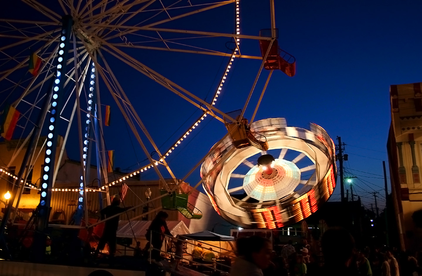 Each June, Knightstown hosts its Jubilee Days celebration, which features a carnival and parade. The summer night is punctuated by the midway's thumping music and flashing lights. Many a wide-eyed kid circled the attractions, nibbling cotton candy while deciding which ride to try next.