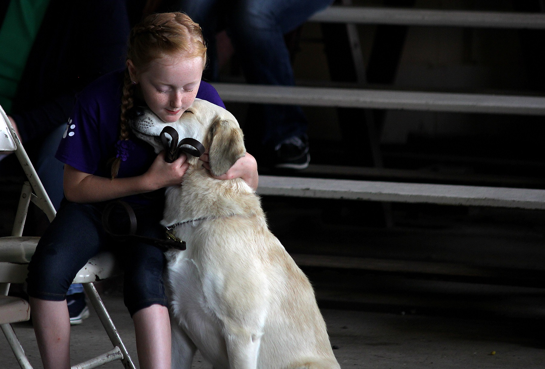 Each July, Henry County kids converge on Memorial Park in New Castle, where the 4-H fair plays out. A variety of farm animals are shown and cared for. But, domestic pets are also points of pride for youngsters. After the annual dog show, a yellow Labrador retriever gets a hug of appreciation for its owner.