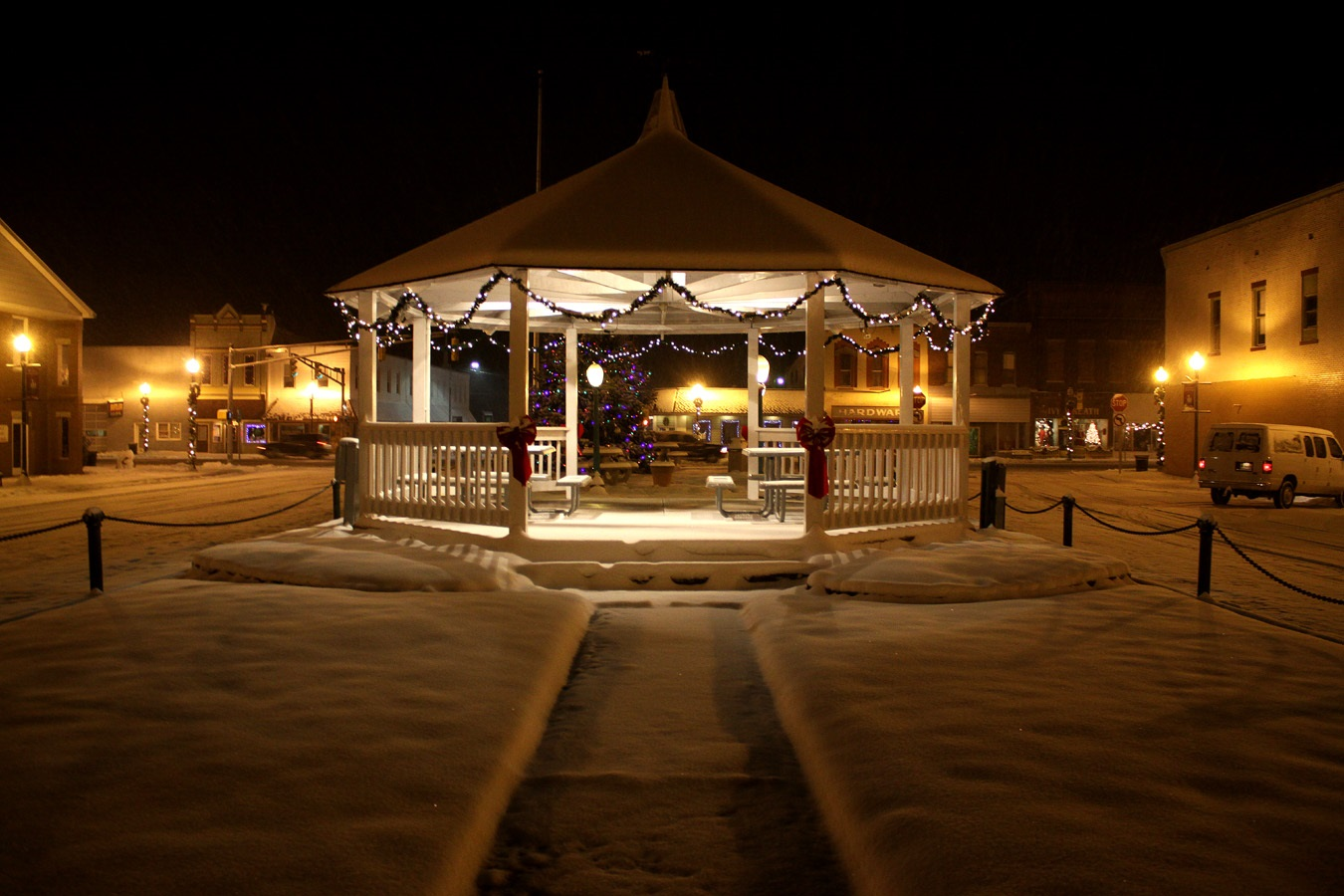 The public square on winter's night.