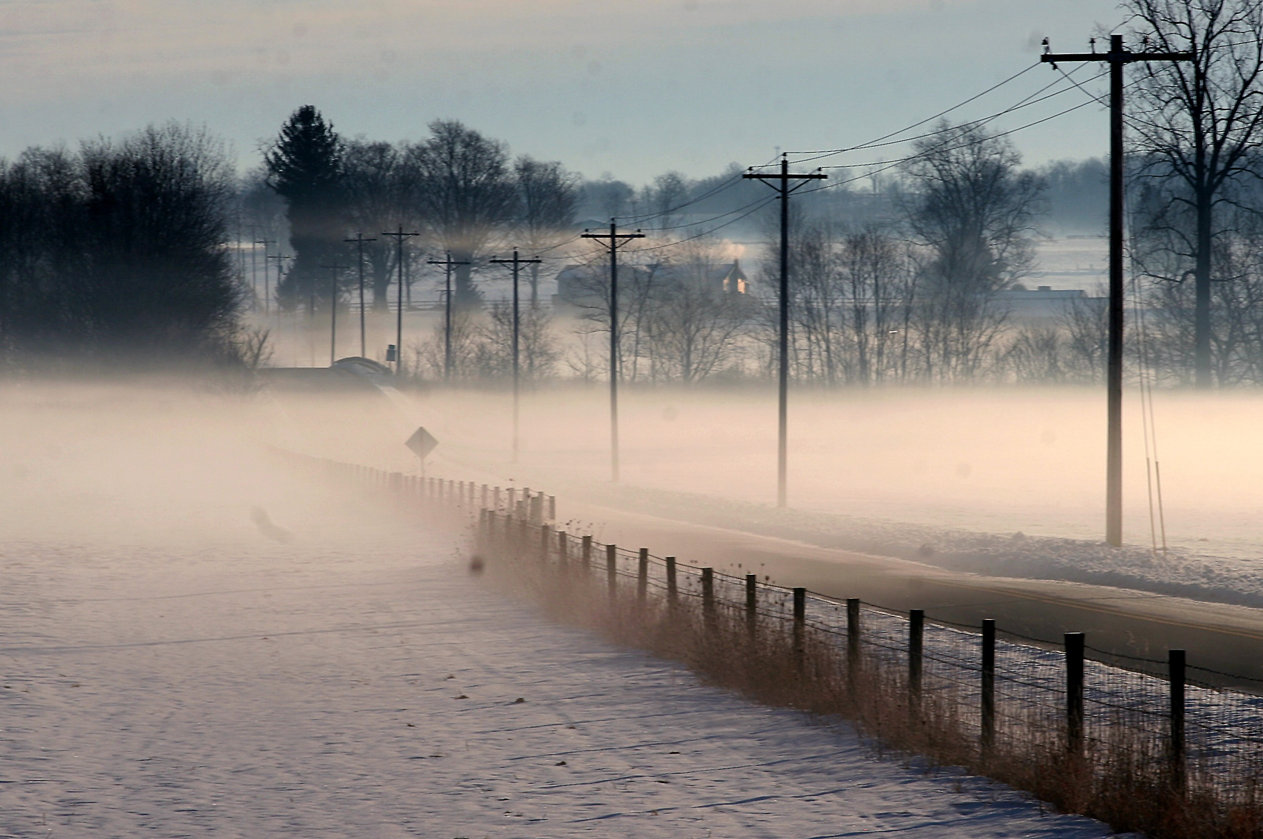 A dangerous yet beautiful combination of fog and snow.