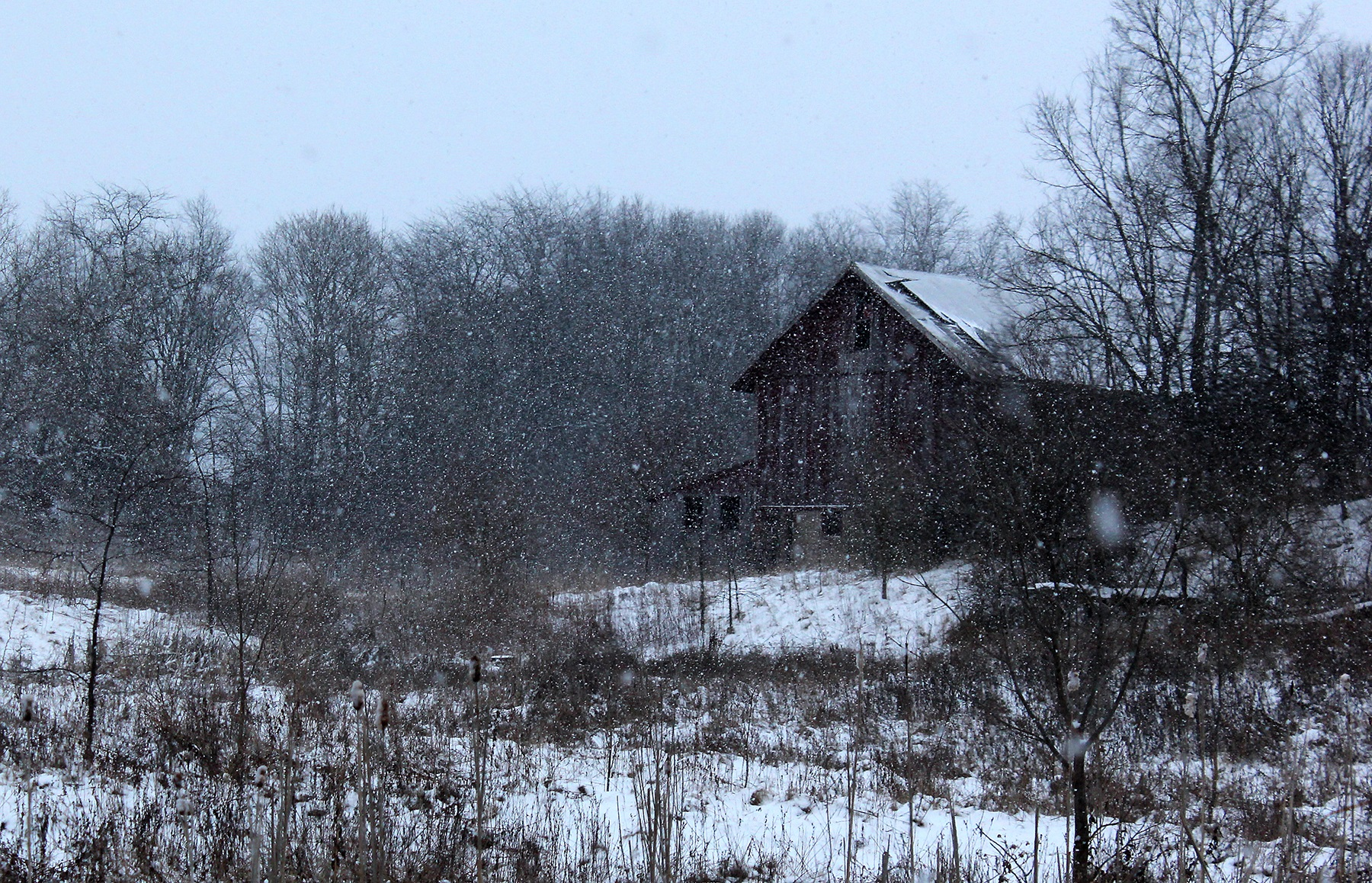 A barn near Greensboro majestically captures what we love the most about Midwestern winters.