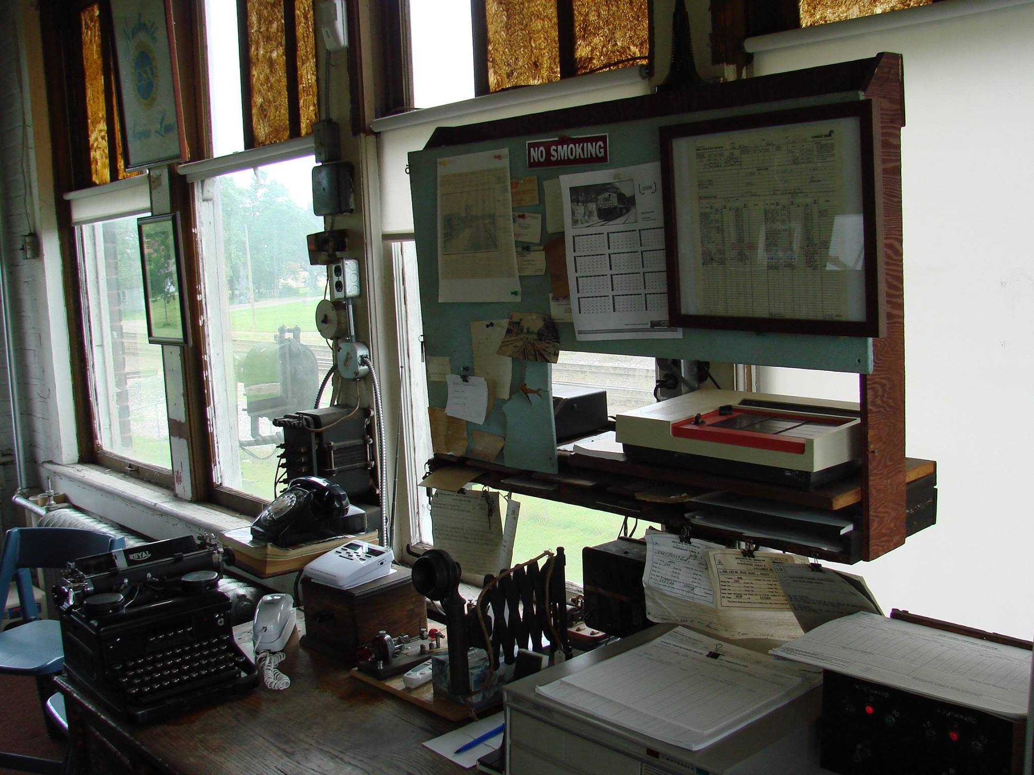 Inside the Haley Station Tower. Photo courtesy, Wabash Valley Railroad Museum
